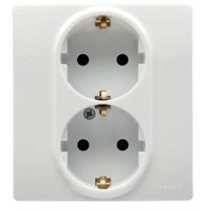 Розетка Legrand Etika электрическая двойная с заземлением (винтовые клеммы) белый