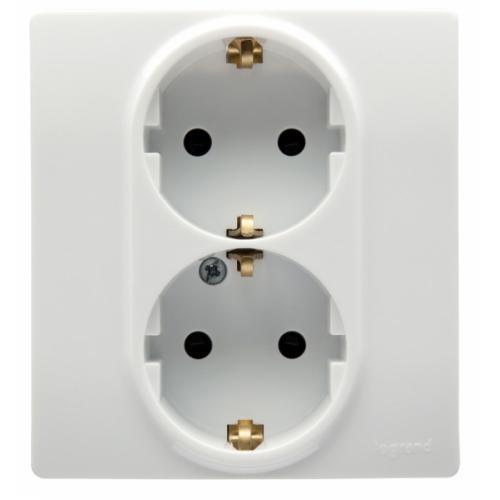Розетка Legrand Etika электрическая двойная с заземлением и защитными шторками (безвинтовые зажимы) белый
