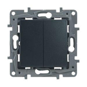 Выключатель/переключатель двухклавишный Legrand Etika 10A на зажимах антрацит