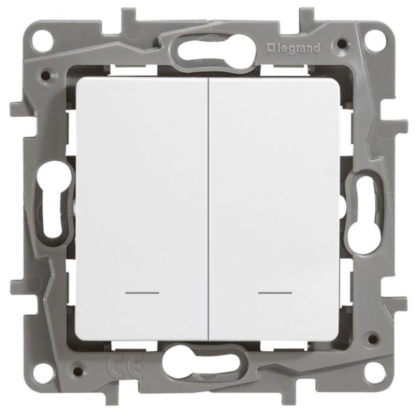 Выключатель двухклавишный Legrand Etika 10А с подсветкой на винтах белый