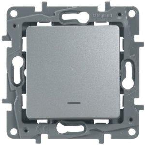 Выключатель/переключатель Legrand Etika 10A с подсветкой алюминий