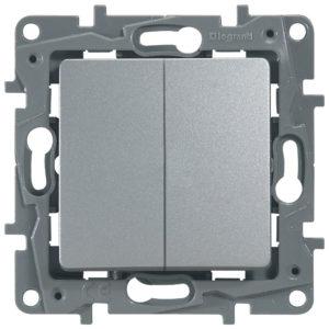 Выключатель/переключатель двухклавишный Legrand Etika 10A на зажимах алюминий