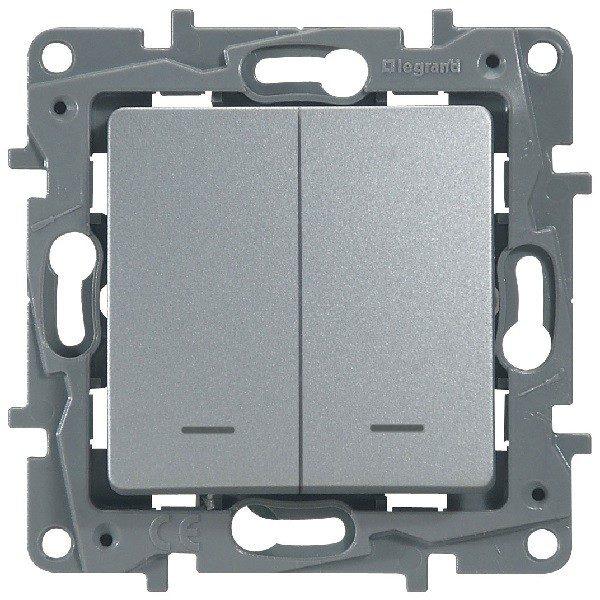 Выключатель/переключатель двухклавишный с подсветкой Legrand Etika 10А алюминий