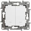 Выключатель/переключатель двухклавишный с подсветкой Legrand Etika 10А белый