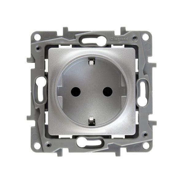 Розетка Legrand Etika алюминий электрическая с заземлением, со шторками (винтовые клеммы)