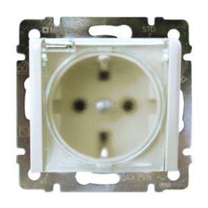 Розетка Legrand Valena IP44, с заземлением, с крышкой, со шторками - белая