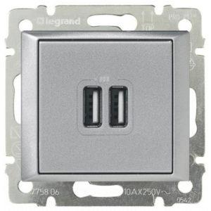 Розетка Legrand Valena USB двойная, 1500мА - алюминий