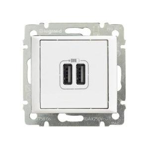 Розетка Legrand Valena USB двойная, 1500мА - белая