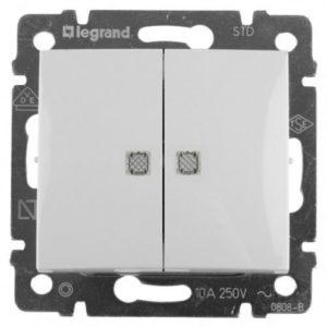 Выключатель Valena двухклавишный с двумя индикаторами 10 AX 250 В белый
