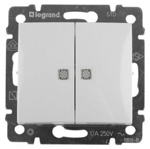 Переключатель Legrand Valena на два направления двухклавишный с подсветкой 10 AX 250 В белый