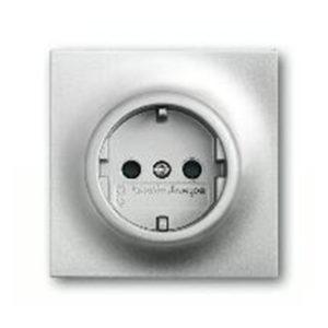 Розетка с заземлением ABB Impuls 16А/250В, серебристый алюминий