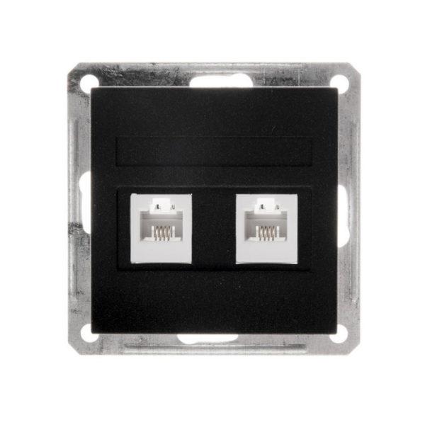 Механизм двойной телефонной розетки RJ11 Schneider Electric W59, цвет черный бархат