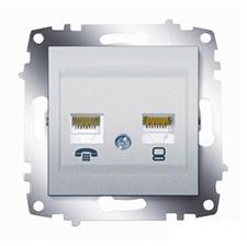 Розетка телефонная и компьютерная ABB Cosmo алюминий
