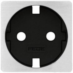 Розетка с заземлением Fede 10-16А/250В, винтовой зажим (никель/черный)