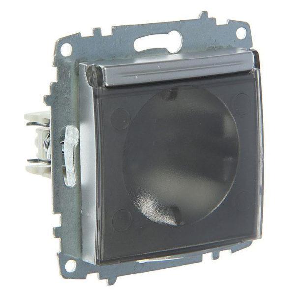 Розетка электрическая с заземлением с крышкой ABB Cosmo алюминий