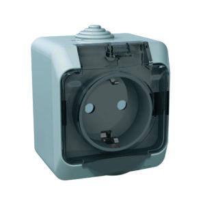 Розетка с заземлением со шторками IP44 открытой установки Schneider Electric Этюд, цвет серый