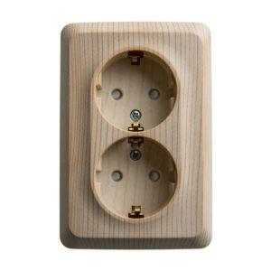 Двойная угловая розетка с заземлением со шторками открытой установки Schneider Electric Этюд, цвет сосна