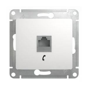 Механизм телефонной розетки RJ11 Schneider Electric GLOSSA, цвет белый