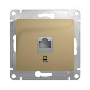 Механизм компьютерной розетки RJ45 Schneider Electric GLOSSA, цвет титан