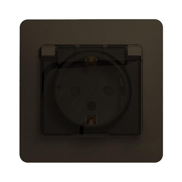 Розетка с заземлением со шторками и крышкой IP44 Schneider Electric GLOSSA в сборе, цвет шоколад