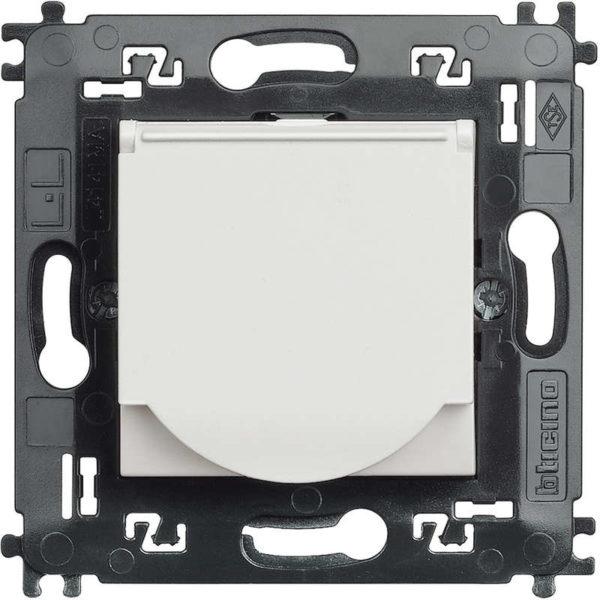 Розетка 10/16 А 250 В заземляющими контактами Schuko, с защитной крышкой с винтовыми зажимами, LivingLight 2 модуля