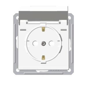 Механизм розетки с заземлением со шторками IP44 Schneider Electric W59 AQUA, цвет белый