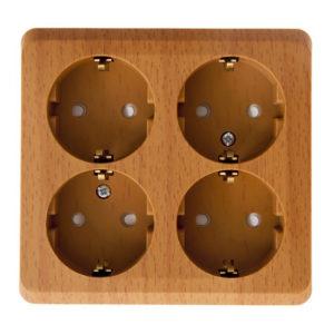 Четырехместная розетка с заземлением со шторками открытой установки Schneider Electric Этюд, цвет бук