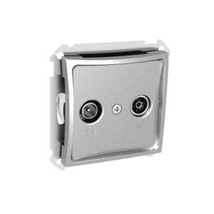 Механизм проходной TV-R розетки 11 дБ Schneider ДУЭТ, цвет серебристый