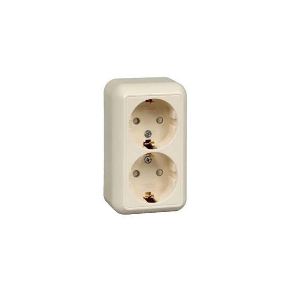 Розетка двойная с заземлением со шторками с изолирующей пластиной открытой установки Schneider Electric Прима, цвет слоновая кость