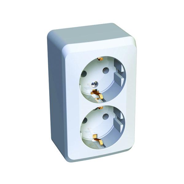 Двойная розетка с заземлением без шторок открытой установки Schneider Electric Этюд, цвет белый
