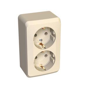 Двойная розетка с заземлением без шторок открытой установки Schneider Electric Этюд, цвет кремовый