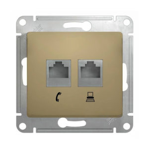 Механизм двойной розетки RJ11+RJ45 Schneider Electric GLOSSA, цвет титан