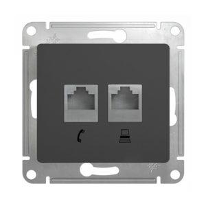 Механизм двойной розетки RJ11+RJ45 Schneider Electric GLOSSA, цвет антрацит