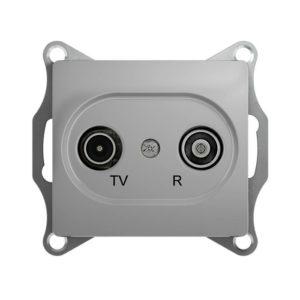 Механизм TV-R проходной розетки 4dB GLOSSA, цвет алюминий