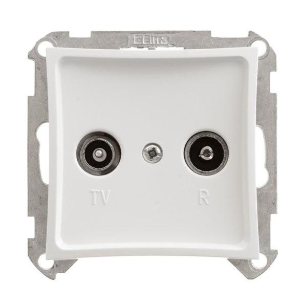 Механизм проходной TV-R розетки 11 дБ Schneider ДУЭТ, цвет белый