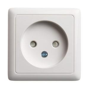 Розетка без заземления со шторками и изолирующей пластиной (10А, 250В) открытой установки Schneider Electric Хит, цвет белый