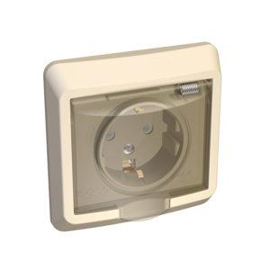 Розетка с заземлением со шторками IP44 скрытой установки Schneider Electric Этюд, цвет кремовый