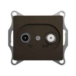Механизм телевизионной проходной розетки TV/SAT 4dB Schneider Electric GLOSSA, цвет шоколад