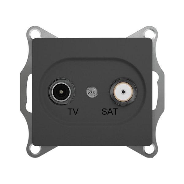 Механизм телевизионной проходной розетки TV/SAT 4dB Schneider Electric GLOSSA, цвет антрацит