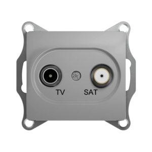 Механизм телевизионной проходной розетки TV/SAT 4dB Schneider Electric GLOSSA, цвет алюминий