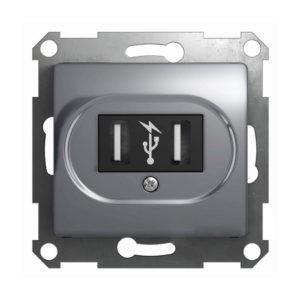 Механизм USB-розетки Schneider Electric GLOSSA, цвет алюминий