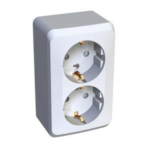 Двойная розетка с заземлением со шторками открытой установки Schneider Electric Этюд, цвет белый