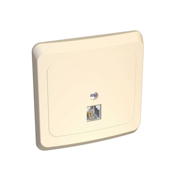 Розетка телефонная скрытой установки Schneider Electric Этюд, цвет кремовый