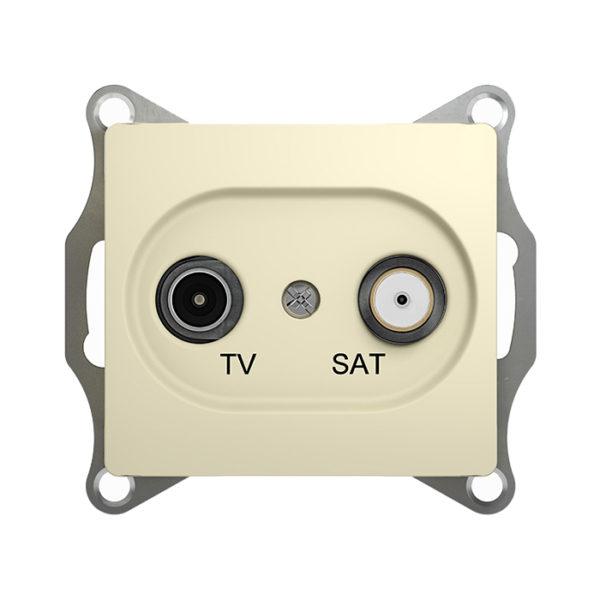 Механизм телевизионной проходной розетки TV/SAT 4dB Schneider Electric GLOSSA, цвет бежевый
