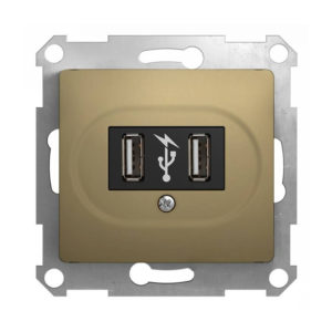 Механизм USB-розетки Schneider Electric GLOSSA, цвет титан