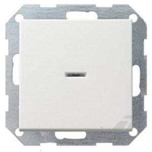 Выключатель 1 кл, с подсветкой - белый глянцевый, Gira System 55