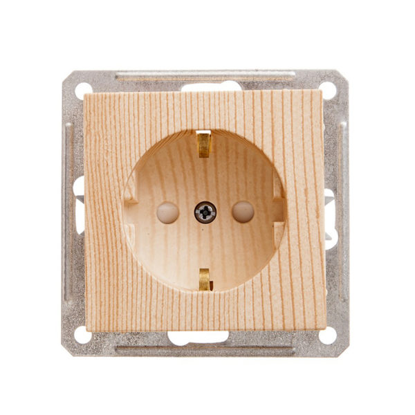 Механизм розетки с заземлением со шторками Schneider Electric W59, цвет сосна