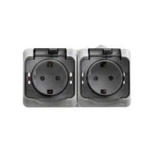 Двойная розетка с заземлением со шторками IP44 открытой установки Schneider Electric Этюд, цвет серый