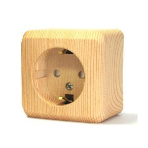 Розетка с заземлением со шторками открытой установки Schneider Electric Этюд, цвет сосна