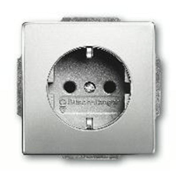 Розетка с заземлением ABB Pure сталь 16А/250В